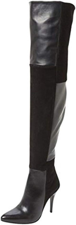 WHL.LL Frauen Spitze Schlanker High Heel Kniestiefel PU Splice Hoher Absatz Stiefel Mode Seitlicher Reiverschluss Hohe Stiefel (Absatzhhe  12Cm)
