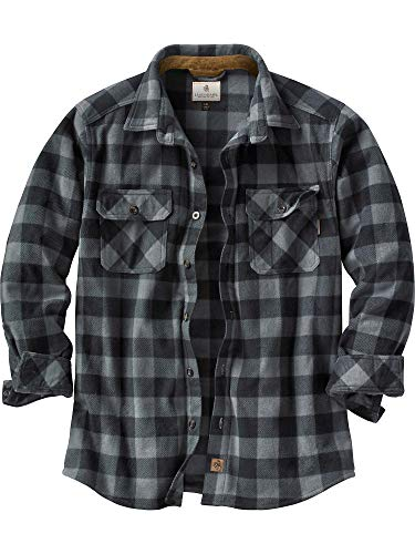 Legendary Whitetails Men's Navigator Fleece Button Up Graphite Plaid X-Large