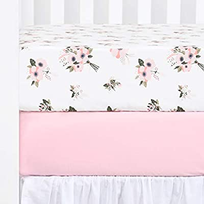 """TILLYOU Printed Floral Crib Sheets Set, 100% Egyptian Cotton Toddler Sheet Set for Baby Girls, Soft Breathable, 28""""x52"""", 2 Pack Floral & Pink"""