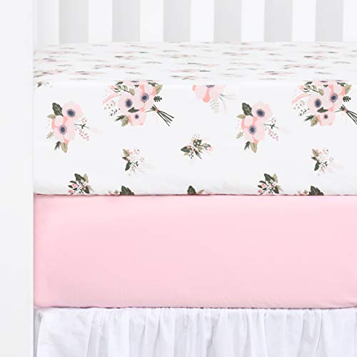 """TILLYOU 2-Pack Printed Fitted Crib Sheet Set for Boys or Girls, 100% Natural Cotton Toddler Bed Mattress Sheets, Gentle to Baby's Sensitive Skin, Standard 28""""x52""""8"""", Pink/Floral Flowers"""