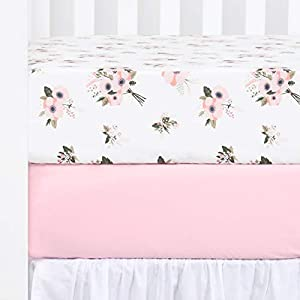 """crib bedding and baby bedding tillyou 2-pack printed fitted crib sheet set for boys or girls, 100% hypoallergenic cotton toddler bed mattress sheets, gentle to baby's sensitive skin, standard 28""""x52""""8"""", pink/floral flowers"""