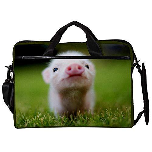 Cute Little Pig Laptop Case Shoulder Bag for Notebook Computer Tablet with Adjustable Shoulder Strap Canvas Messenger Carrying Briefcase Handbag Sleeve for Woman,Man 15x11x1inch