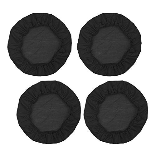 B Blesiya 2/4er-Set Stretch Stuhlbezug Stuhlhusse Hocker Überzug Rund Bezüge Hussen für Barhocker - 4 Stück schwarz