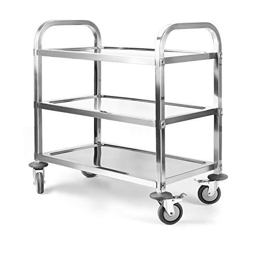ybaymy Carrello portavivande in acciaio inox a 3 ripiani, carrello da cucina con ruote, carrello da cucina in acciaio inox, con freni, per hotel, ristorante, cucina, colore argento, 75 x 40 x 83,5 cm
