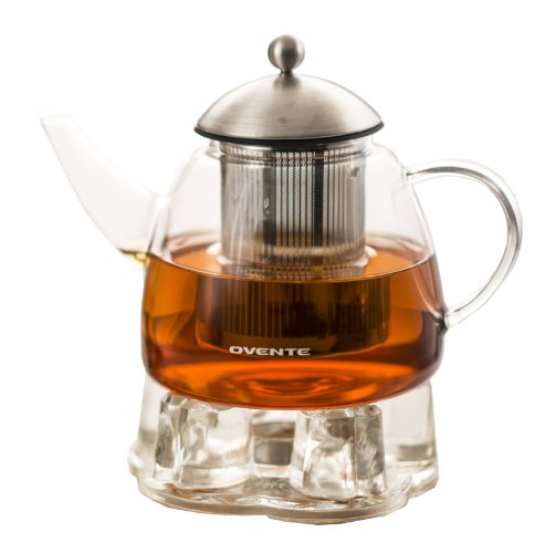 Ovente Glass Teapot with High Grade Stainless Steel Mesh Filter 44 Ounce with Extra Measuring Scoop, Heat Tempered Borosilicate Teapot Warmer with Leak and Spill Proof