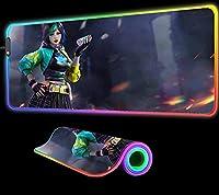 ゲーミングマウスパッド Free Fire GameGirlマウスパッドLEDRGBゲーマー滑り止めパッドプレイマットキーボード用ゲームラップトップコンピューターデスクマット800x300x4mm