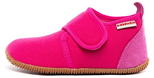 Giesswein Strass - Slim Fit Pantofole a collo basso Unisex Bambini, Rosa (Himbeer), 23 EU