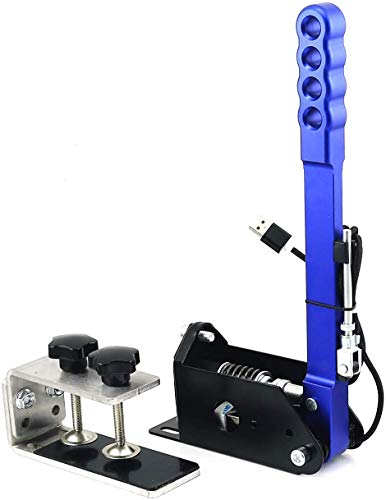 Neeknn - Freno de mano para PC SIM y USB para juegos de carreras G25/27/29 T500 FANATECOSW Dirt Rally (azul + abrazadera)