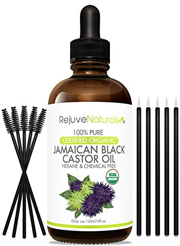 Organic Jamaican Black Castor Oil - Boost Hair Growth for Hair, Eyelashes & Eyebrows. USDA Certified Organic, 100% Pure, Cold Pressed, Hexane Free. Eyelash Serum & Brow Treatment with Applicator Kit