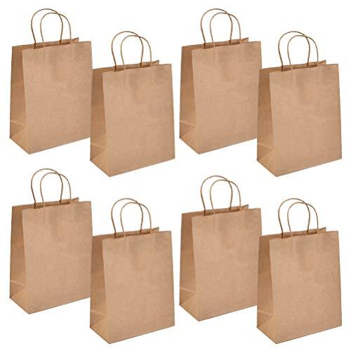 QLOUNI 20 Stück Papiertüten mit Henkel, braun Papiertüten, 27x11x21cm, Partytüten aus Papier, Geschenktasche für Lebensmittel Backen Merchandise, Boutique