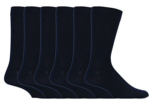 Giovanni Cassini - Herren 6 paar mehrfarbig bunt muster gestreift weit socken druckfrei in 7 farbig (Plain Black)