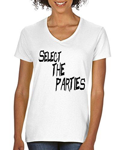 Comedy Shirts Select The Parties T-shirt à manches courtes pour femme Col en V 100 % coton - Blanc - Large
