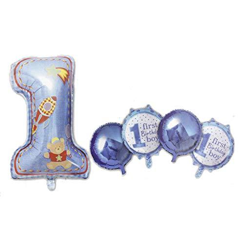 Globos de cumpleaños de metal, juego de 5 unidades, con el número 1, azul celeste macho.
