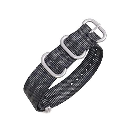 Correa de reloj de la NATO de nylon correa de lona de 18mm-24mm de reemplazo 5 anillo de rayas banda de reloj de los accesorios, 24mm