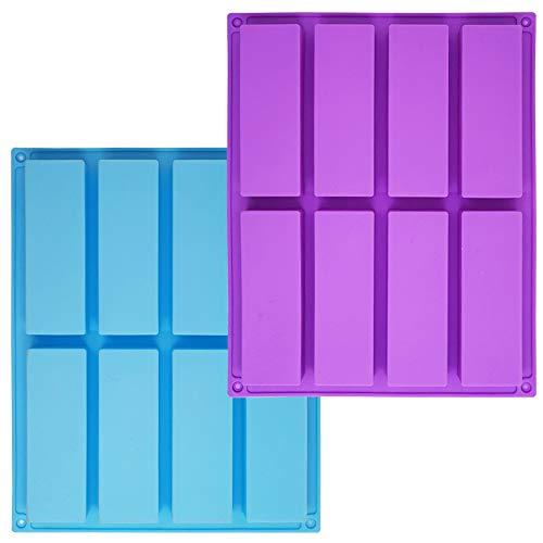 Sonku - Molde de silicona rectangular de 8 cavidades, 2 piezas, molde para hornear para trufas de chocolate, pan, brownie, pan de maíz, cheesecake, pudín, pastel, color azul y morado