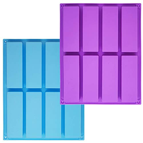 Sonku - Stampo rettangolare in silicone, 8 cavità, 2 pezzi, per cioccolatini, tartufi, pane, brownie, cornbread budino, torta blu, viola