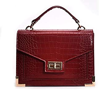 Adebie - Fashion Luxury Famous Designer Crocodile Women Handbag Casual Female Shoulder Crossbody Bags Retro Small Square Messenger Bag Burgundy []
