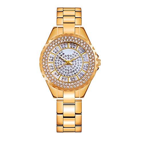 QHG Reloj de Moda de Las Mujeres de Cuarzo Reloj de Moda de Las Mujeres Relojes de la muñeca de Las Mujeres Reloj de Pulsera de Lujo Reloj de Lujo Casual Mujer, Reloj de Mujer Lleno de Diamantes