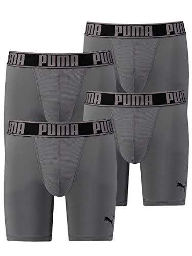 PUMA Herren Active Long Funktions-Boxer-Short Hang im 4er Vorteilspack - 400 (Grey) - L