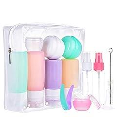 Idea Regalo - Morfone Bottiglie da Viaggio in Silicone,16 pezzi set da viaggio mit Kulturbeutel,per Shampoo, Balsamo, Crema, Lozione, per Viaggio in Aereo, Senza BPA, Approvato dalla FDA