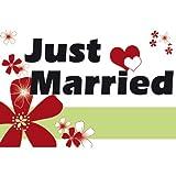 XXL-Flagge Banner Just Married, 1,50 Meter breit Hochzeitsflagge mit Ösen zum Aufhängen Hochzeitsdeko Fahne Girlande Hochzeit
