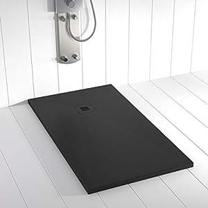 Shower Online Plato de ducha Resina PLES - 80x140 - Textura Pizarra - Antideslizante - Todas las medidas disponibles - Incluye Rejilla Color y Sifón - Negro RAL 9005
