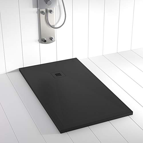 Shower Online Plato de ducha Resina PLES - 80x80 - Textura Pizarra - Antideslizante - Todas las medidas disponibles - Incluye Rejilla Color y Sifón - Negro RAL 9005