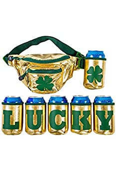 St Patrick s Day  Lucky  Fanny Pack with 6 Drink Holders for St Paddy s Day Hip Bag