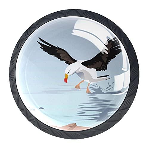 Un albatros errante en el mar, moderno y minimalista impresión del armario, manija del cajón, manija de la puerta del armario, traje de cuatro piezas