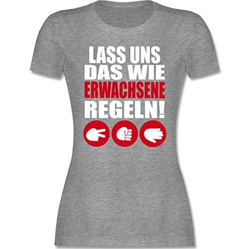 Sprüche - Lass Uns das wie Erwachsene Regeln Schere Stein Papier weiß - M - Grau meliert - Tshirt sprüche Damen - L191 - Tailliertes Tshirt für Damen und Frauen T-Shirt