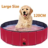 Zacro 120cm Foldable Large Dog Pool Pet Dog Cats Paddling Bath Pool Large Bathing Tub for Dogs Cats...