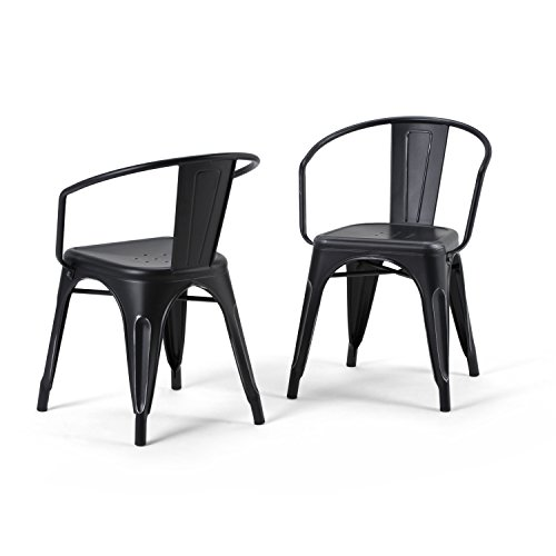 SIMPLIHOME Larkin Industrial Dining Chair (Set of 2), Distressed Black, Silver Metal, Square, For...