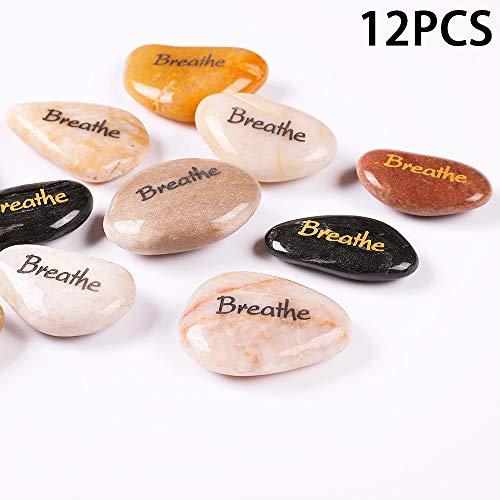 RockImpact 12 Stück Breathe Steine mit Spruch Glück Gravierte Steine Gravur Inspirierende Steine Glücksbringer Ermutigung Dankbarkeit Geschenk Glückssteine (Großhandel, je 5-8 cm)