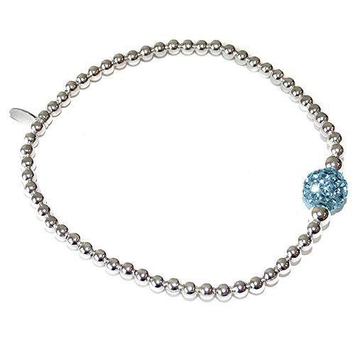 Zilveren Armband met Blauw Strass Bolletje