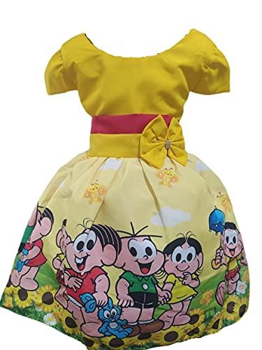 Vestido Temático Infantil Festa Turma da Monica Amarelo - PP