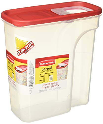 Rubbermaid Modular Food Storage Cereal Container with Flip Top, 18 Cup, Racer Red 1856059