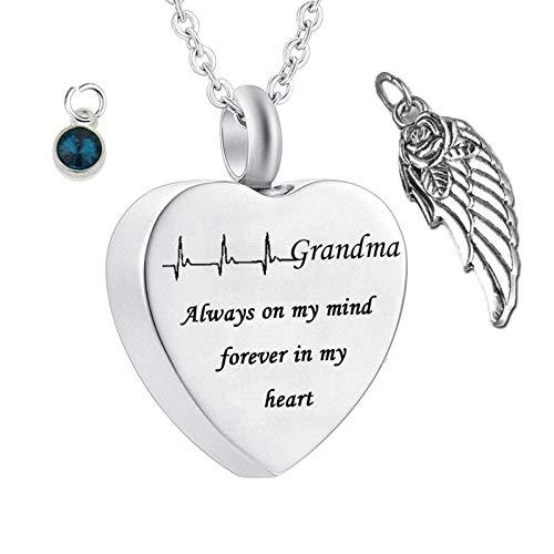 Amody Memorial Urna de Cremación Colgante de Acero Inoxidable Corazón Always on my Mind Forever in my Heart for Grandma Piedra de Nacimiento y ala December Colgantes para Hombre Mujer de Cenizas