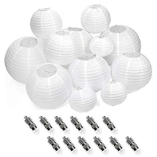 12 PCS Lampion Papier Blanc 4 Tailles Lanterne Blanche en Papier Boule Chinoise pour Décoration de Maison Mariage Anniversaire Fête Avez Les LEDs (Blanc)