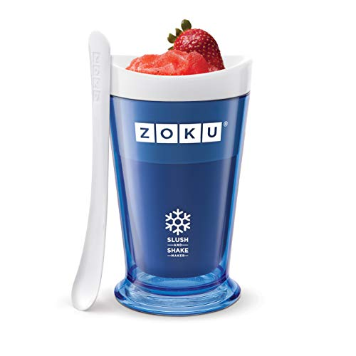 Zoku Slush and Shake Maker, Compact Make and Serve Cup with Freezer Core Creates Single-serving Smoothies, Slushies and Milkshakes in Minutes, BPA-free, Blue