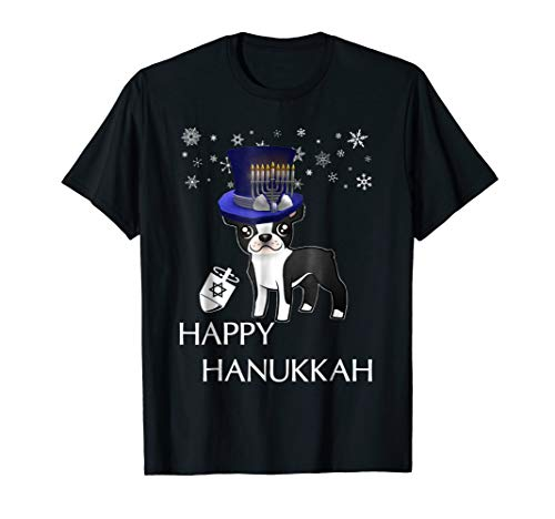 Funny Happy Hanukkah T Shirt for Boston Terrier Dog Lovers