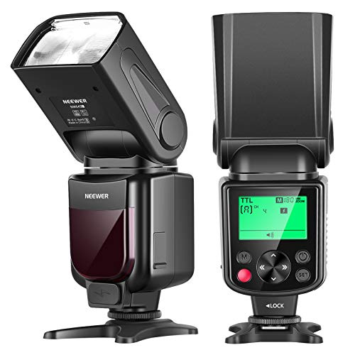 Neewer NW645-C TTL Slave GN58 Camera Flash Speedlite, HSS 1/8000s with LCD Display Compatible with Canon DSLR 800D/750D/700D/650D/600D/7D2/7D/6D2/6D/5D4/5D3/5D2/5DS/1D4/1D3/100D/80D/70D/60D Cameras