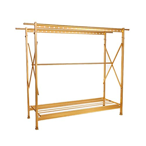 Tendedero de secado de aluminio Percha plegable no oxidante Doble varilla retráctil Cool Hanger Home Mobile balcón secadero (Color: Dorado)