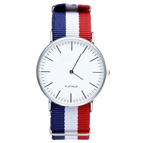 JSDDE- Orologio casual con cinturino in nylon, al quarzo, analogico, quadrante bianco, cinturino astrisce blu, bianche, rosse