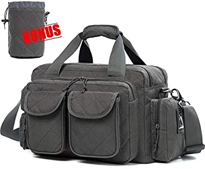 SUNLAND Gun Range Bag Tactical Shooting Range Bag with Lockable Zipper and Plenty of Room for Handguns (Grey)