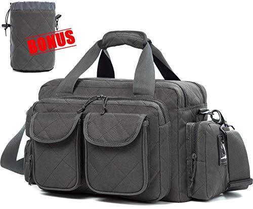 AUMTISC Gun Range Bag Tactical Shooting Range Bag with Lockable Zipper and Plenty of Room for Handguns (Grey)