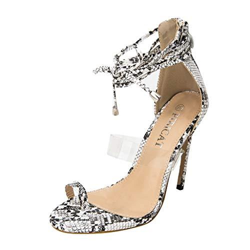 Ln-ZME Frauen Sandaletten Riemchen Sandalen Sexy Schlangenleder Pumps Spitze Zehen Stiletto Knöchelriemchen Schnalle High Heels