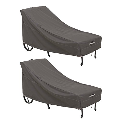 Classic Accessories 55-712-041501-2PK Ravenna Water-Resistant 86 Inch Patio Chaise Lounge Chair Cover, 2 Pack,Taupe,Large Chaise Lounge, 2 Pack