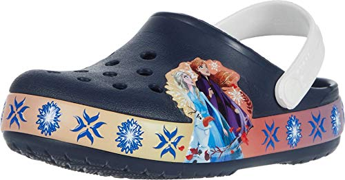 Crocs unisex child Kids' Disney Frozen 2 Light Up   Frozen Light Up Shoes for Girls Clog, Navy, 1 Little Kid US