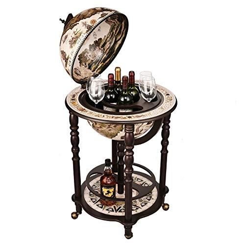 "VIDAR 15.7"" Globe Wine Bar Stand Sixteenth-Century Italian Replica Old World Map Parchment Globe Bar Wine Holder 4 Legs in Engraved Golden Composite Plastic Finish, 39"" Wine Cabinet"
