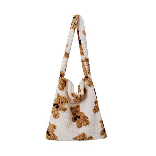 xueren Bolso de hombro para mujer, de moda, de otoño, de felpa, con estampado de oso de gran capacidad, bolsa de hombro